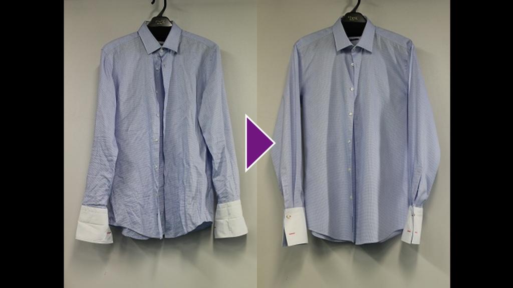 青系のチェックシャツのリプロン事例紹介(全体像)