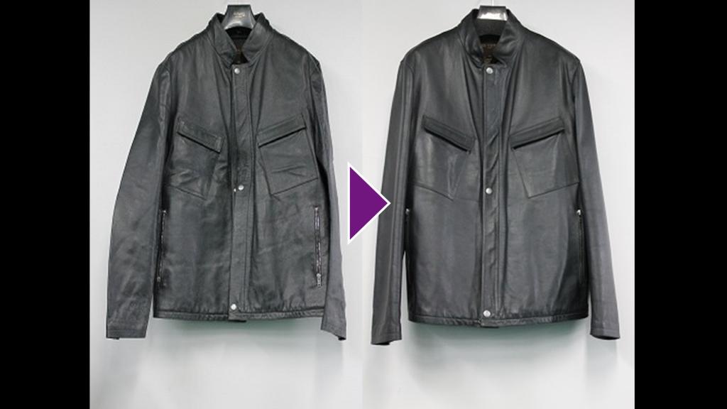 LOUIS VUITTONの皮革半コートのリプロン事例紹介(全体像)