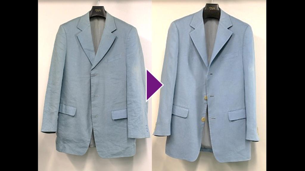 GIANNI VERSACEの紳士ジャケットのリプロン事例紹介(全体像)